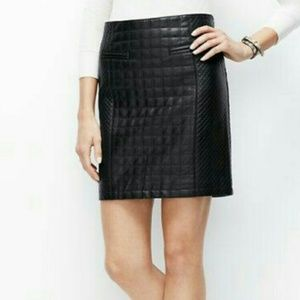 Ann Taylor Faux Leather Quilted Skirt Sz 8